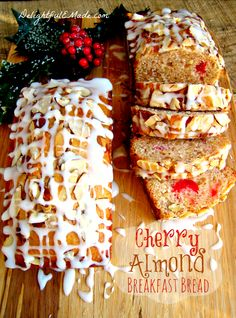 Cherry Almond Breakfast Bread | www.DelightfulEMade.com | Great during the holidays, or any time of year!  Delicious with your coffee, or a great gift to give your neighbors! | #cherry #almond #bread