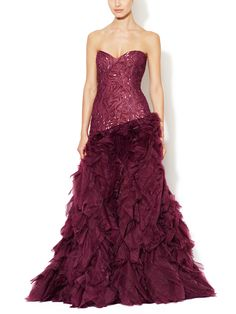 Silk Organza Tiered Ruffle Gown from Final Sale: Designer Apparel on Gilt