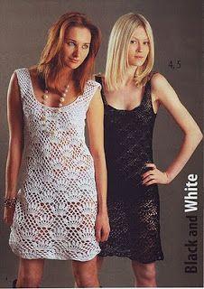 Graficos y Crochet: vestido blanco y negro con grafico