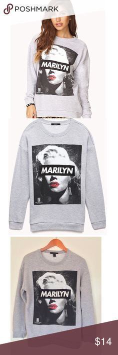 Marilyn Monroe Street Style Sweatshirt Marilyn Monroe Street Style Sweatshirt by Forevr 21. Perfect condition. Worn & washed one time. Size small 21.5 pit to pit, 22 shoulder, 16 pit to hem. NO OFFERS🚫PRICE FIRM🚫BUY IT NOW OPTION ONLY🚫I ONLY TRADE FOR CASH😉 Forever 21 Tops Sweatshirts & Hoodies