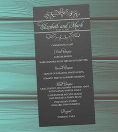 Chalkboard scroll wedding menus or program DIY file or by itcoa, $15.00