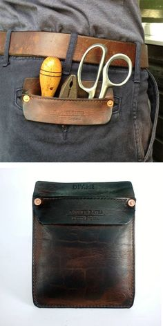 Handmade leather pocket protector for small tools to prevent tools from wearing out pockets over time and from sharp tools from puncturing the fabric as well. A great gift for a carpenter, woodworker, welder, etc. #leatherpocketprotector