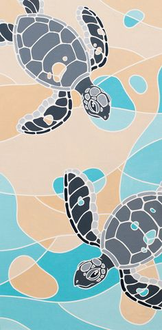 """The Longest Yard"""" Fine Art Painting Print of 100 -- Bright Modern Colors - Baby Sea Turtle Scene - Stained Glass Style by ArtworksofRobCropper, $25.00"""