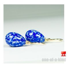 18k Gold Rare One-Of-A-Kind Persian-Blue Marbling Lapis Lazuli Drop Earrings #oas #DropDangle