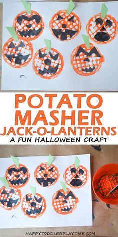 Potato Masher Jack-o-Lanterns - HAPPY TODDLER PLAYTIME This easy and fun Potato Masher Jack-o-Lantern craft is the perfect Halloween craft for toddlers and preschoolers at home, school or daycare. Scary Halloween Crafts, Halloween Crafts For Toddlers, Thanksgiving Crafts For Kids, Theme Halloween, Toddler Crafts, Kids Crafts, Halloween Week, Toddler Halloween, Toddlers And Preschoolers