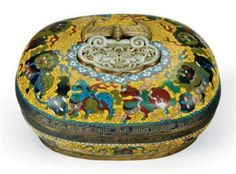 A CHINESE YELLOW-GROUND CLOISONNE ENAMEL RECTANGULAR BOX AND COVER,  20TH CENTURY,http://www.christies.com/