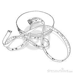 Dibujo de la mano de la cinta métrica en el fondo blanco