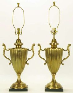1stdibs.com   Pair Chapman Reeded Brass Urn Form Table Lamps