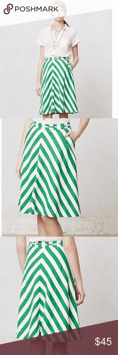 """Spearmint stripe skirt Beautiful linen skirt with adorable front pockets. Side zip, machine wash. Length is 24.5"""" Anthropologie Skirts"""