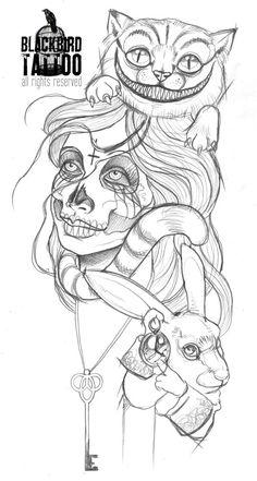 alice in wonderland tattoo sketches Kunst Tattoos, Body Art Tattoos, New Tattoos, Sleeve Tattoos, Tattoo Sketches, Tattoo Drawings, Drawing Sketches, Art Drawings, Disney Tattoos