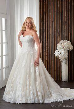 bonny bridal 2017 strapless sweetheart neckline heavily embellished bodice lightly embellished skirt plus size a  line wedding dress chapel train (1711) mv -- Bonny Bridal Wedding Dresses