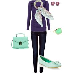 Polyvore outfit #2  love mint + purple; cute casual outfit