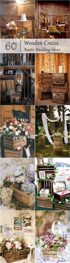 rustic country wooden crates wedding theme ideas / http://www.deerpearlflowers.com/country-wooden-crates-wedding-ideas/3/
