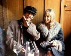 1964 - Ringo Starr and Pattie Boyd in A Hard Day's Night film (backstage photo).