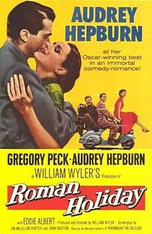 Roman Holiday is a 1953 romantic comedy directed and produced by William Wyler and starring Gregory Peck and Audrey Hepburn. Hepburn won an Academy Award for Best Actress for her performance; the screenplay and costume design also won.