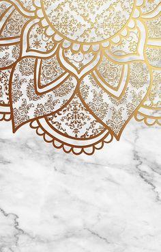 'Mandala - Gold & Marble' iPhone Case by aleibanez - Wallpaper Wallpaper Design For Phone, Iphone Wallpaper Herbst, Marble Wallpaper Phone, Rose Gold Wallpaper, Marble Iphone Case, Fall Wallpaper, Pastel Wallpaper, Cute Wallpaper Backgrounds, Cellphone Wallpaper