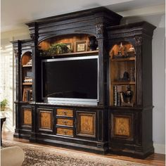 "Hooker Furniture North Hampton 74"" Entertainment Center...what I have in my den, wished they showed it with hutch closed.  It is gorgeous!.....Meredith  Love the colors"