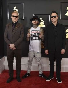 2017 Grammy Awards:     Matt Skiba, Travis Barker, and Mark Hoppus of the musical group Blink‐182 attend The 59th GRAMMY Awards at STAPLES Center in Los Angeles on Feb. 12, 2017.
