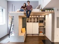 This is a chic and practical Domino Loft Tiny Apartment built by ICOSA in San Francisco. This is a small condo that packs everything you need into a very tiny and versatile space. The inside is a c… Tiny Spaces, Loft Spaces, Modern Spaces, Small Apartments, Modern Loft, Small Studio Apartment Design, Loft Apartment Decorating, Apartment Layout, Apartment Interior