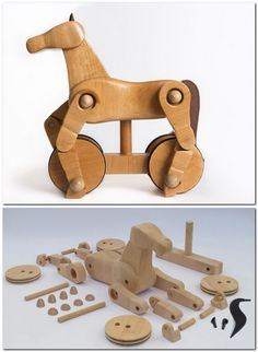Wooden horse, Wooden Toy-- Hehe, it looks like a horse on a bicycle.