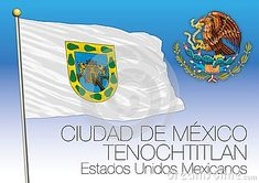 Mexico City, Federal District regional flag, United Mexican States, Mexico, vector illustration