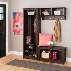 Fremont Espresso Hall Tree by Prepac at Wholesale Furniture Brokers Canada. This hall tree is the perfect solution in any entryway, bedroom, or mudroom where there is a need for storage. Shoe Storage Unit, Entryway Shoe Storage, Entryway Organization, School Organization, Organizing, Ikea Entryway, Coat Storage, Patio Storage, Entryway Ideas