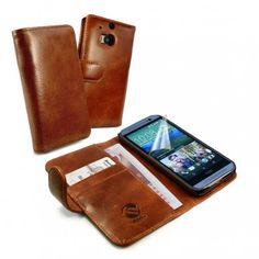 HTC One M8 Ruskea Tuff-Luv Nahkakotelo  http://puhelimenkuoret.fi/tuote/htc-one-m8-ruskea-tuff-luv-nahkakotelo/