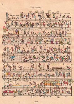 Michael tompsett old sheet music world map canvas art by trademark whimsical art people too make fantastic whimsical art on sheet music gumiabroncs Gallery