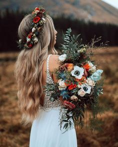 Bohemian fall wedding in the Mountains. Wedding bouquet made with wild, fresh flowers in fall colouring. White Chiffon Long Wedding Dress with White Pearls, Summer Wedding Dress Boho Wedding Dress Fall Wedding Bouquets, Floral Wedding, Wedding Colors, Boho Wedding Flowers, Wild Flower Wedding, Elegant Wedding, Rustic Boho Wedding, Flower Crown Wedding, Wildflower Wedding Bouquets