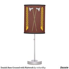 Danish Axes Crossed with Plaitwork Table Lamp.  Sunday Steal: 50% Off Dry Erase Boards, Clipboards & Desk Lamps USE CODE: ZSUNSTEAL182 Offer is valid through June 11, 2017 11:59PM PT.  #Zazzle #Sunday_steal #desk_lamp #table_lamp #lamp #Danish_axes #Viking_axes #medieval_axes #battle_axes #axes #Viking_plaitwork #plaitwork