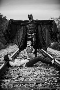 Let your little one be Daddy's sidekick in a superhero photoshoot (or whatever else Daddy is interested in)!