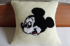 Mickey Mouse Knit Pillow Cover, Ivory Knit piloow Case, White And Black Nursery Pillow, Kids Bedding, Kids Room Decor by Adorablewares on Etsy