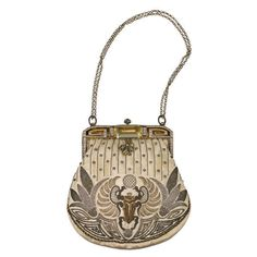 Preowned Eygptian Revival Deco Purse, 1920's (€895) ❤ liked on Polyvore featuring bags, handbags, purses, vintage, accessories, art deco, brown, white purse, white hand bags and brown hand bags