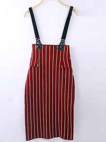 Strap Vertical Striped Maroon Dress
