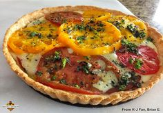 Heirloom Tomato Tart paired with @Kendall-Jackson Wines Avant Chardonnay #recipes #winefoodpairings #winepairings #tomato #heirloomtomato