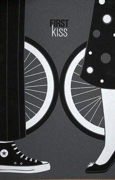 Vintage Poster - First Kiss - Converse Sneakers - Black and White - Bicycle