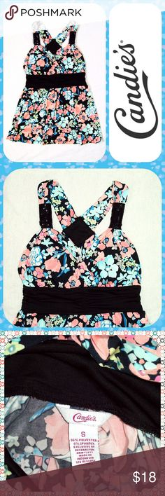 "Multicolor Cross-Back Floral Babydoll Top Size S Cute floral top with a bright floral print in hues of cantaloupe, blue, and black. Ruched empire waist and padded cups. Sequin embellished shoulder straps that cross in the back. Size S or 2/4. Measures 15"" across the chest and 25"" in length.  Very pretty! Candie's Tops Tank Tops"