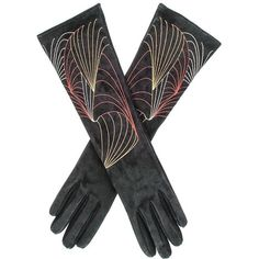 Black Embroidered Long Suede Gloves ($225) ❤ liked on Polyvore featuring accessories, gloves, long suede gloves, suede gloves, suede leather gloves, opera gloves and long gloves