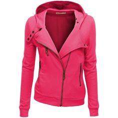 Doublju Women Fleece Zip-up Hoodie with Zipper Point ($43) ❤ liked on Polyvore featuring outerwear, coats, jackets, fleece coat, pink coat, zipper coat and zip coat