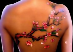 3D tree and flower tatoos | Sakura Flowers 3D Tattoo On Back