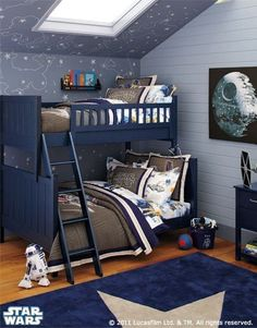 Star Wars: In this outer space-themed room, a twin-over-full bunk bed maximizes the accommodations for growing kids and overnight guests. (Shared by Elise A. via Pottery Barn Kids.)  Photo Source: Pottery Barn Kids
