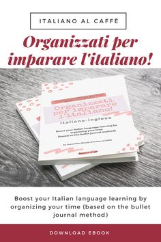 Buy the e-book in Italian-english and boost your Italian learning by organizing your time (based on the bullet journal method) #bulletjournal #agenda #imparalitaliano #italiano #learnitalian Time Based, Learn A New Skill, Italian Language, Learning Italian, Bullet Journal, English, Book, Learning, Day Planners