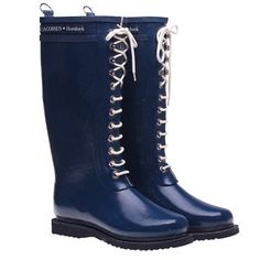 Lace Up Rainboot Tall Indigo, $139, now featured on Fab. Ilse Jacobsen Hornbaek boots.  I want these!