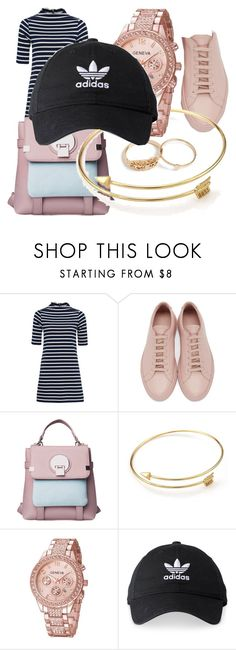 """STRIPED DESIRE ®"" by danigloss on Polyvore featuring French Connection, Common Projects and adidas"