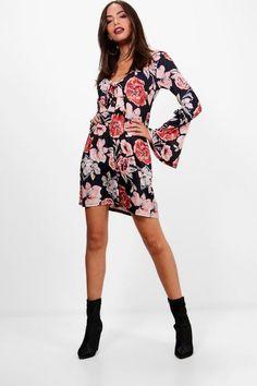 Extreme Flute Tie Front Floral Tea Dress  5347831c90232