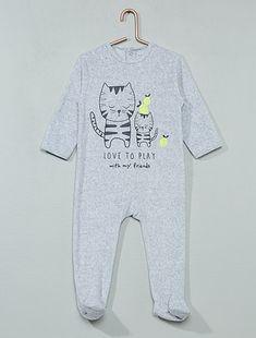 Pyjama 1 pièce en velours gris chat Bébé garçon - Kiabi