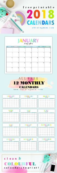 Get this free printable 2018 calendar and plan the year ahead! The monthly calendars are pretty and colorful!