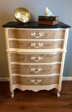Refinished French Provincial chest of drawers.