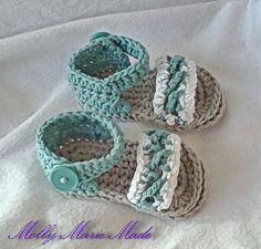 Crochet sandals for baby boy. Grey aqua and ♡ by MollyMarieMade, $15.00