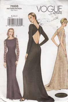 Vogue Open Back Gown Sewing Pattern UNCUT Vogue 7668 Sizes formal wedding evening gown Evening Dress Patterns, Dress Making Patterns, Wedding Evening Gown, Evening Gowns, Vintage Sewing Patterns, Clothing Patterns, Vintage Outfits, Vintage Fashion, Vogue Patterns